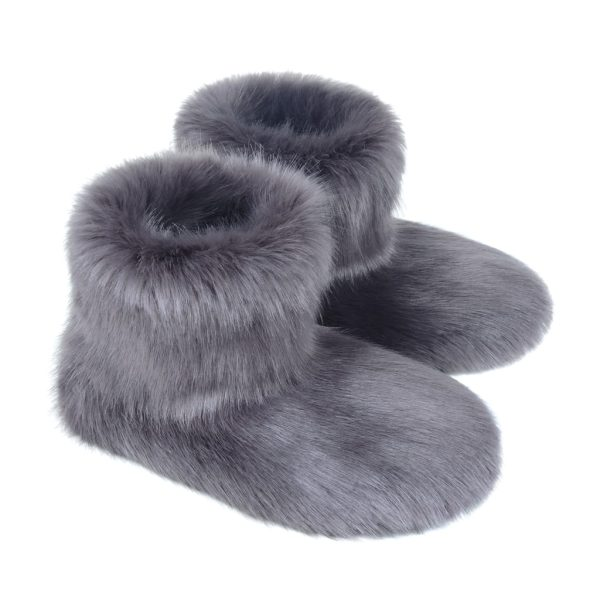 Steel Faux Fur Slipper Boots