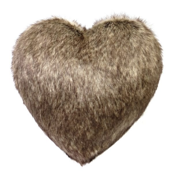 Truffle Faux Fur Heart Cushion