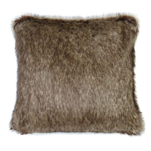 Truffle Faux Fur Square Cushion