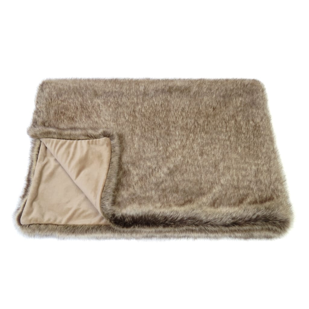 Truffle Faux Fur Throw