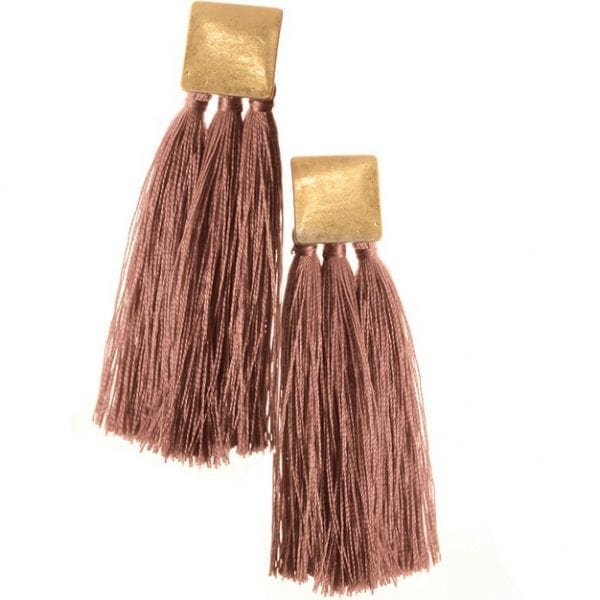 Square & Tassel Old Rose Earrings