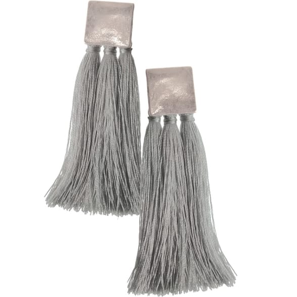 Square & Tassel Silver Earrings