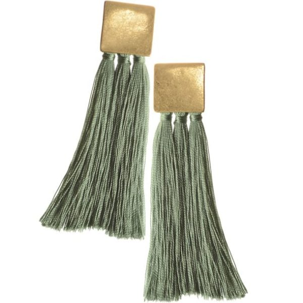 Square & Tassel Teal Earrings
