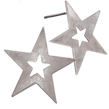 Star Struck Worn Silver Earrings