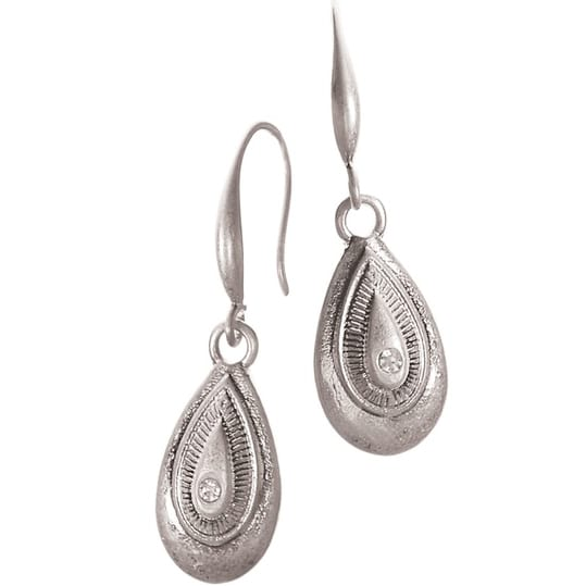 Vintage Peardrop Worn Silver Earrings