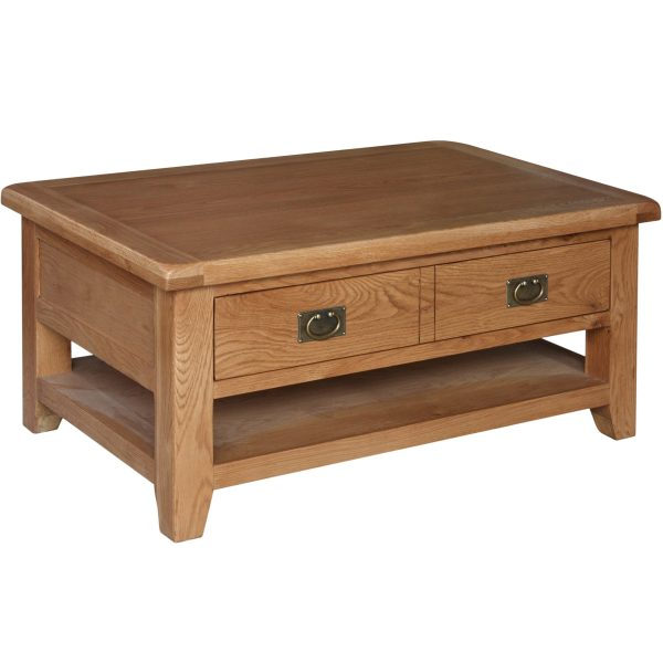 Harvard Oak 2 Drawer Coffee Table with Shelf