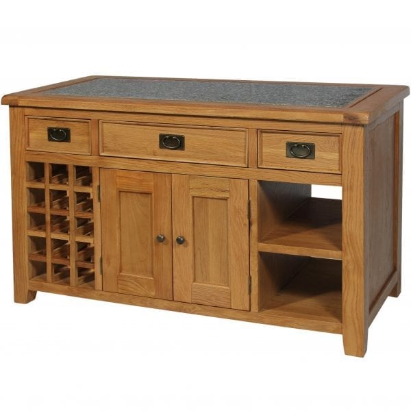 Harvard Oak Kitchen Island with Granite Top
