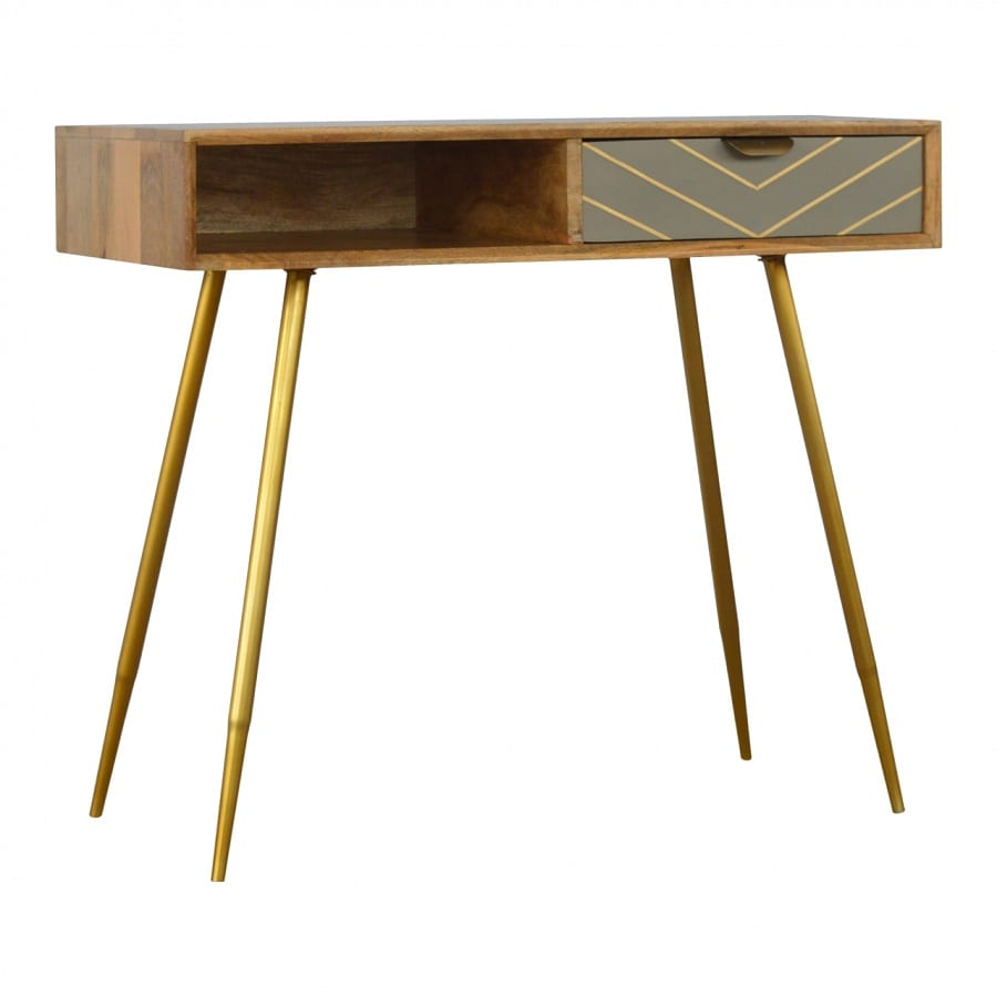 Mango Hill 1 Drawer Nordic Style Writing Desk with 1 Brass Inlay Drawer