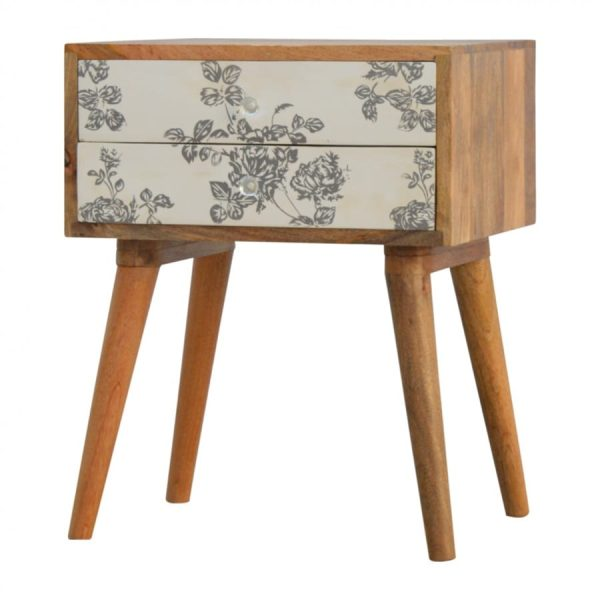 Mango Hill 2 Drawer Black Floral Screen-Printed Bedside