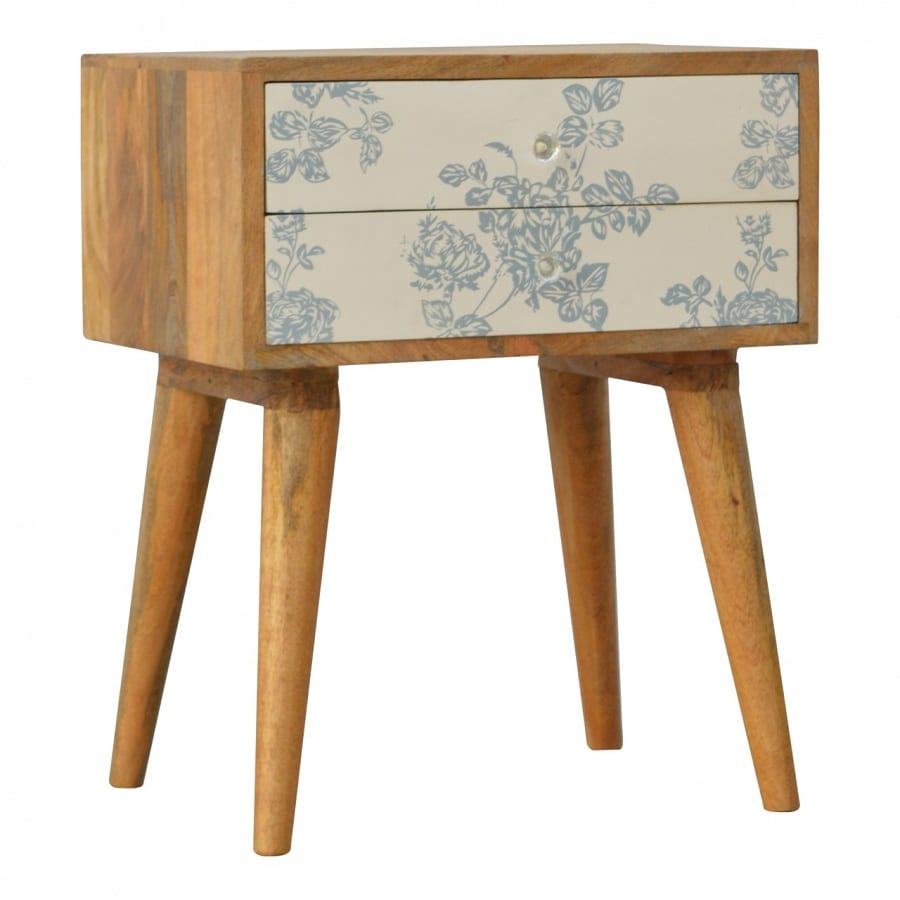 Mango Hill 2 Drawer Blue Floral Screen-Printed Bedside