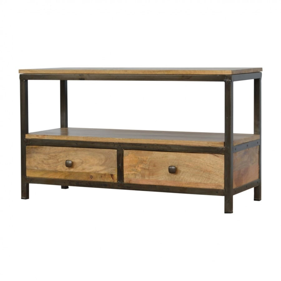Mango Hill 2 Drawer Coffee Table with Iron Base