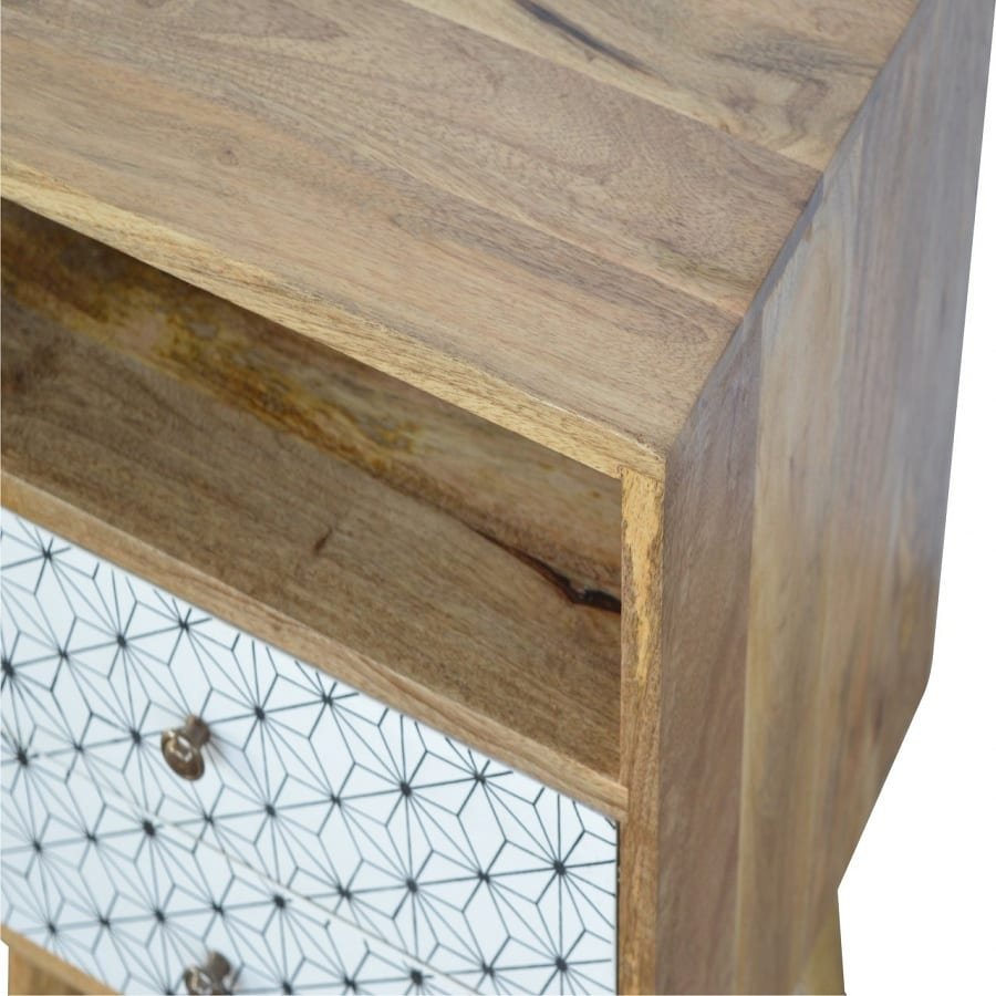Mango Hill 2 Drawer Geometric Screen-Printed Bedside with Open Slot