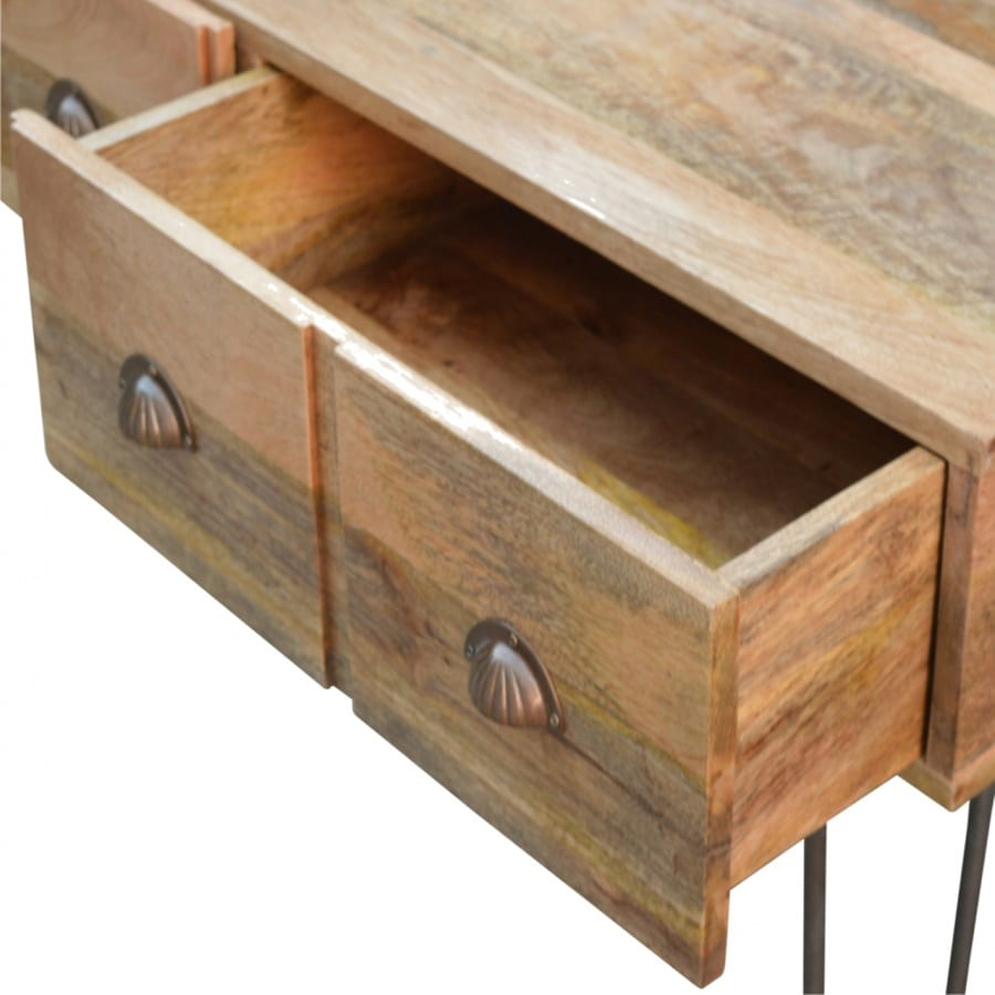 Mango Hill 4 Drawer Console Table with Iron Base