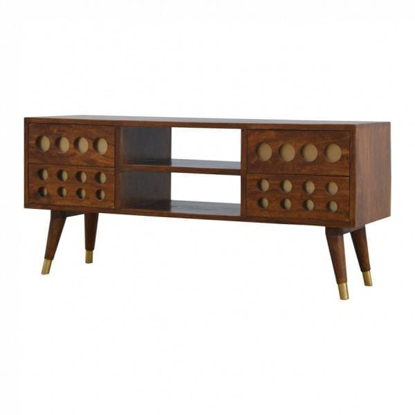 Mango Hill 4 Drawer Media Unit with Brass Hole Inlay and 2 Open Slots