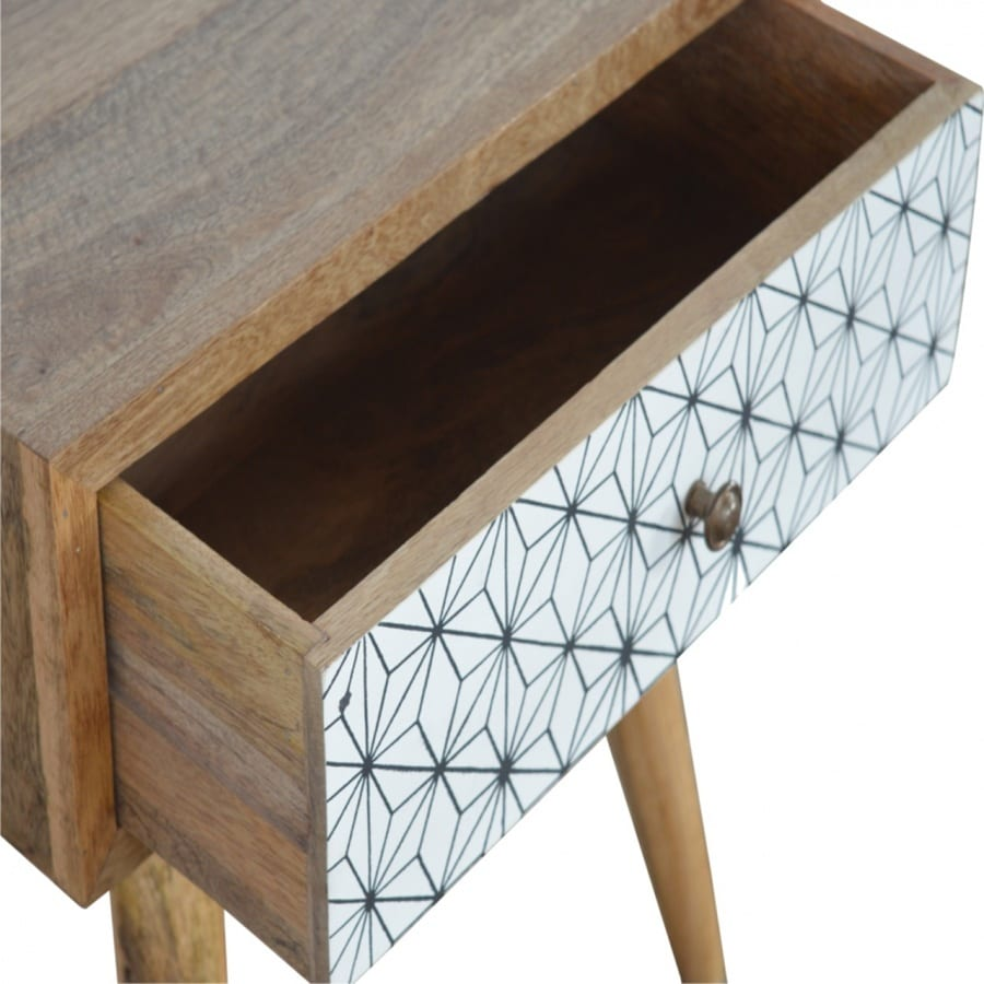 Mango Hill Bedside with Screen Print Drawer Fronts