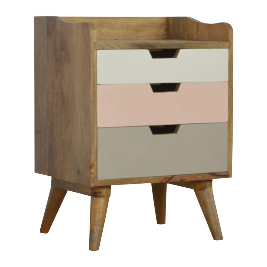 Mango Hill Blush Pink Gradient 3 Drawer Hand-Painted Bedside