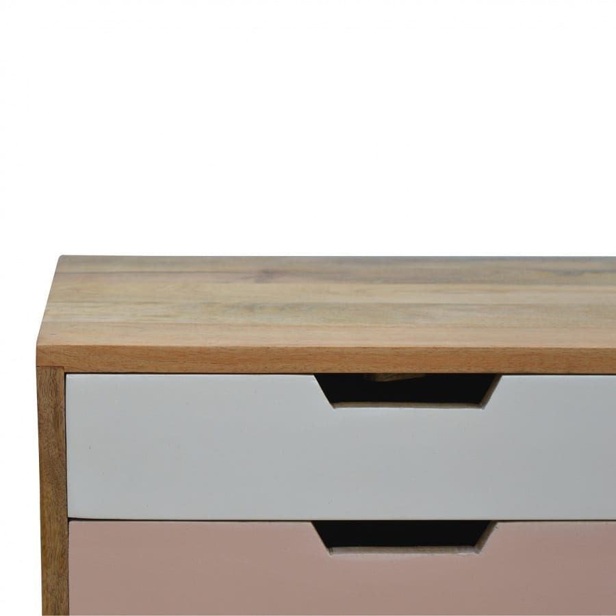 Mango Hill Blush Pink and White 2 Drawer Hand-Painted Bedside