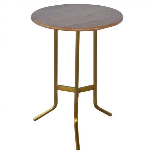 Mango Hill Caramel Tripod Tea Table With Gold Base
