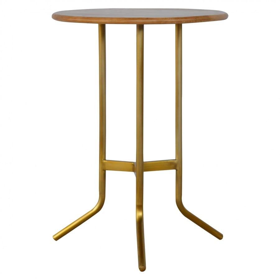 Mango Hill Caramel Tripod Tea Table With Gold Base