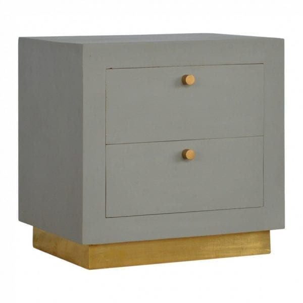 Mango Hill Cement 2 Drawers Bedside with Gold Detailing