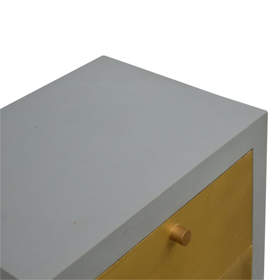 Mango Hill Cement Bedside with 3 Gold Front Drawers