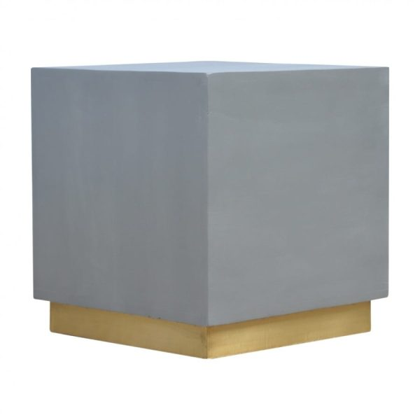Mango Hill Cement Footstool with Gold Base