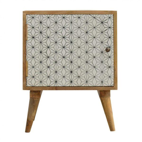 Mango Hill Geometric Screen-Printed Door Bedside