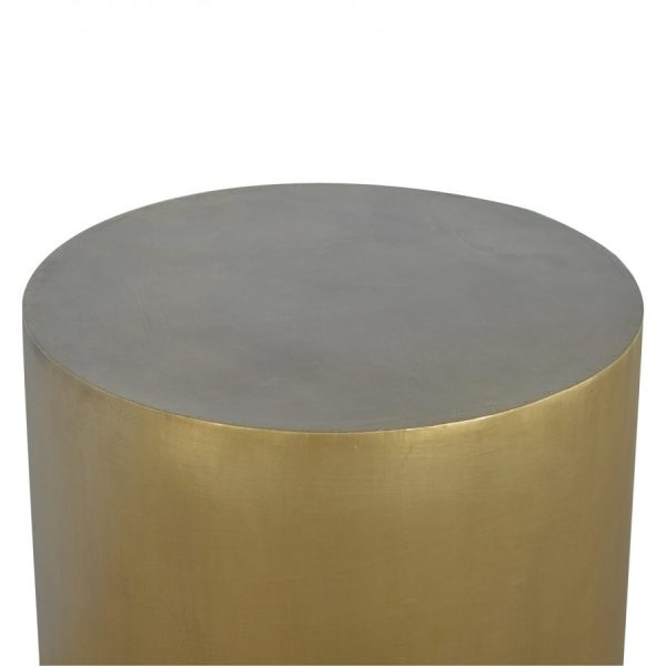 Mango Hill Gold End Table with Chunky Wooden Base