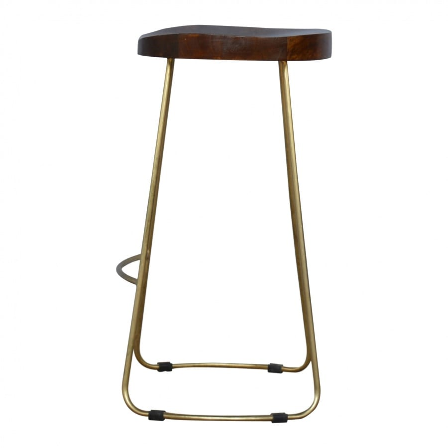 Mango Hill Golden Iron Base Stool with Chunky Wooden Top