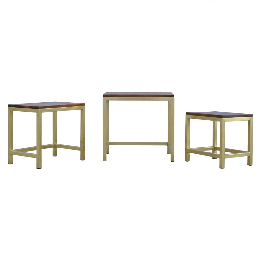 Mango Hill Golden Stool Set of 3 With Chunky Wooden Top