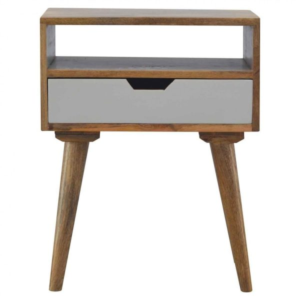 Mango Hill Grey Nordic Style 1 Drawer Bedside