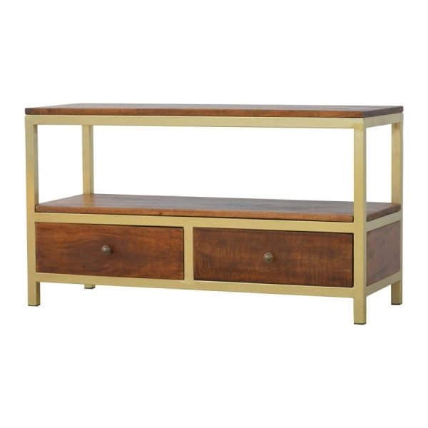 Mango Hill Industrial Iron Base Coffee Table with 2 Drawers
