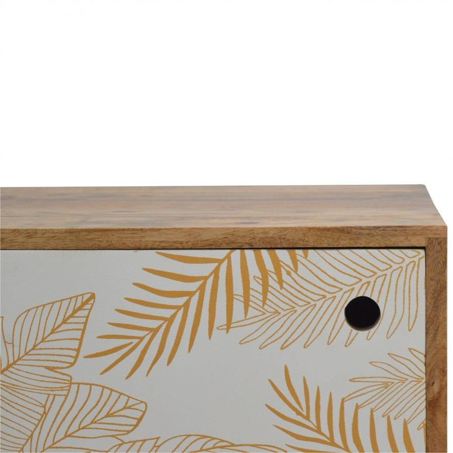 Mango Hill Leaf Screen-Printed Door Front Bedside with Cut-Out Slot