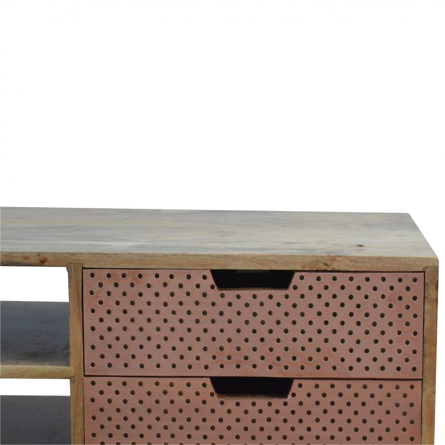 Mango Hill Media Unit With Perforated Copper Front Drawers