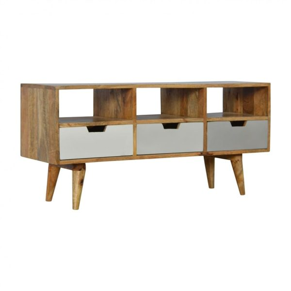Mango Hill Media Unit with 3 Hand Painted Cut Out Drawers
