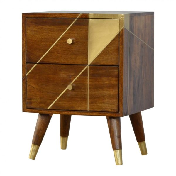 Mango Hill Nordic Style Chestnut Bedside with Gold Detailing