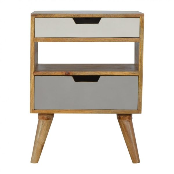 Mango Hill Nordic Style Grey 2 Drawer Cut-Out Bedside