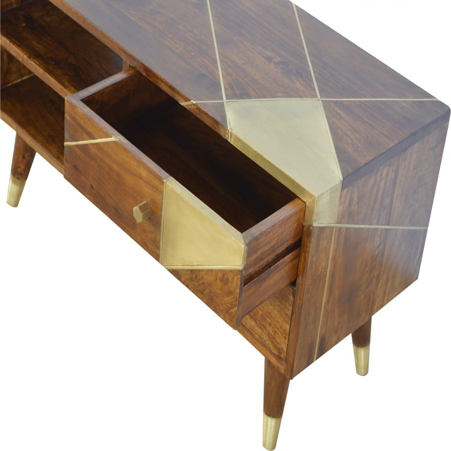 Mango Hill Nordic Style Media Unit with Gold Detailing