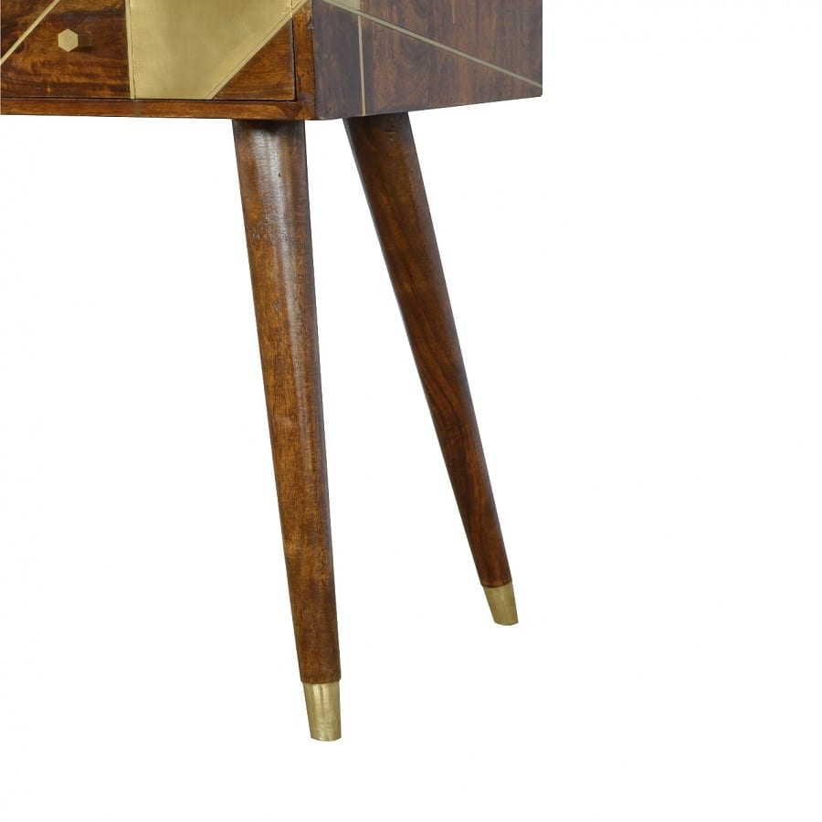 Mango Hill Nordic Style Writing Desk with Gold Detailing