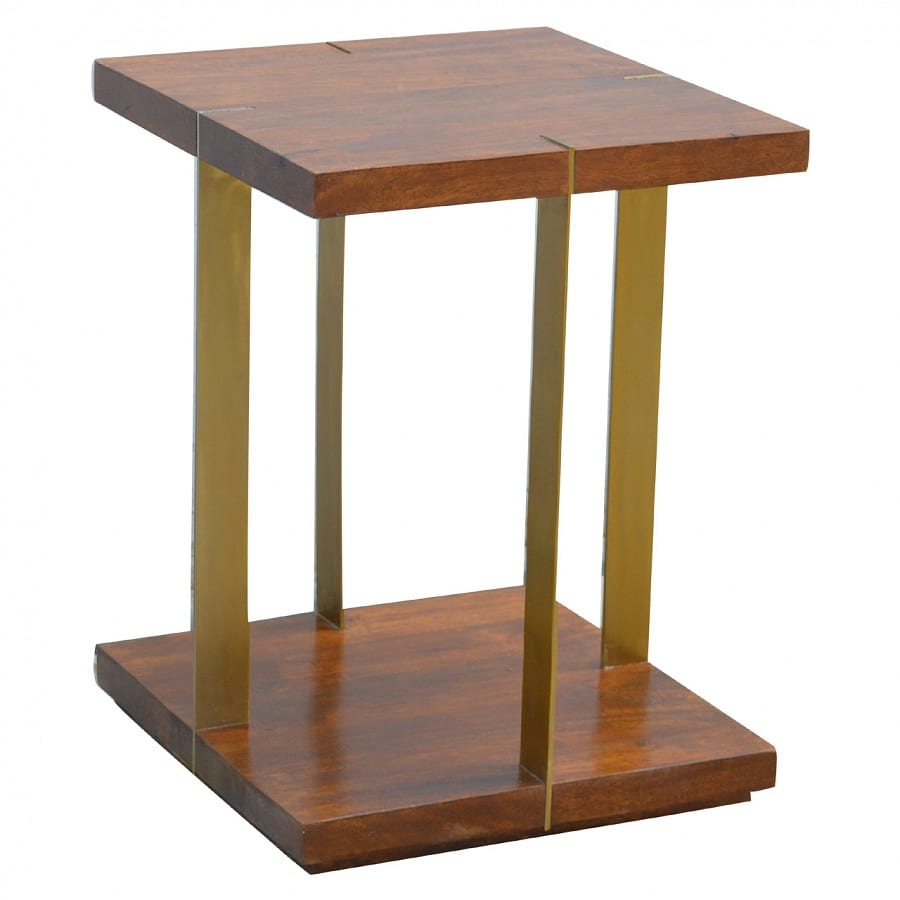 Mango Hill Open Chestnut End Table With 4 Gold Panels