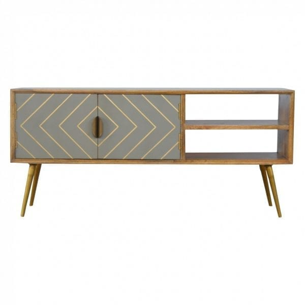 Mango Hill Open Nordic Style Media Unit with 2 Cement Brass Inlay Doors