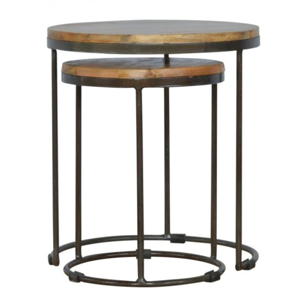 Mango Hill Round Stool Set of 2 with Iron Base