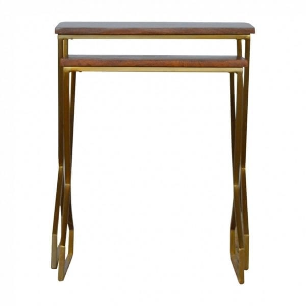 Terrific Mango Hill Set Of 2 Nesting Tables With Gold Base And Wooden Tops Machost Co Dining Chair Design Ideas Machostcouk