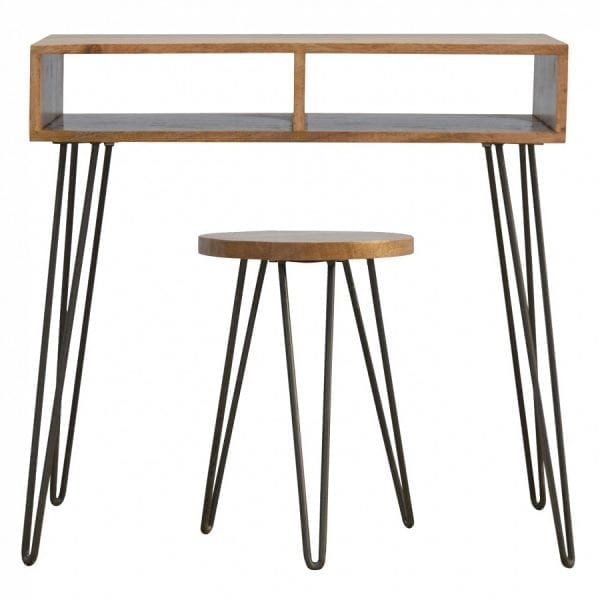 Mango Hill Solid Wood & Iron Base Writing Desk with Stool