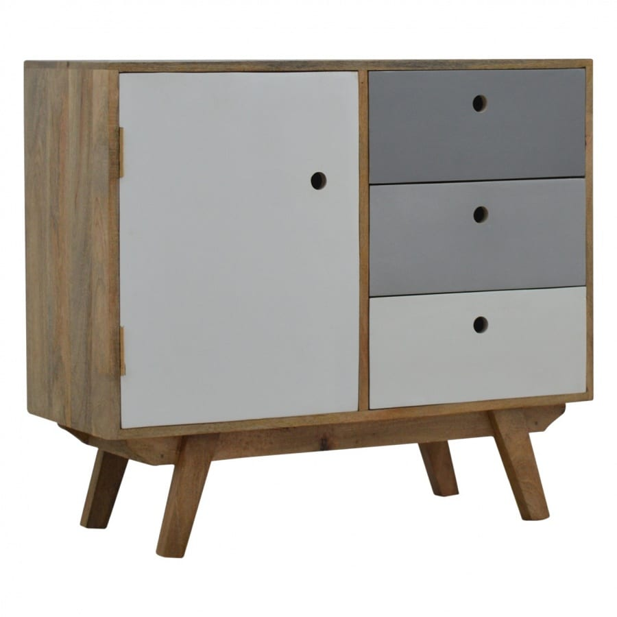 Mango Hill Two Tone Hand Painted Hole Cut-Out Cabinet