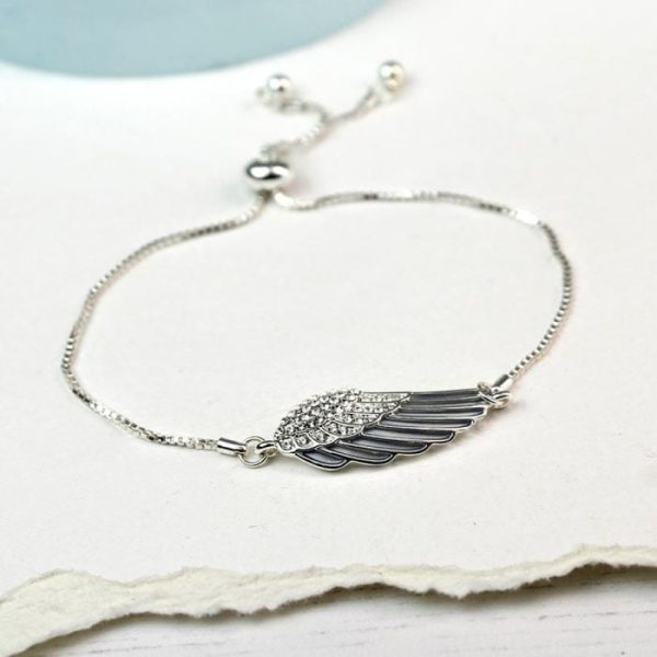 Angel Wing Bracelet with Enamel and Crystals