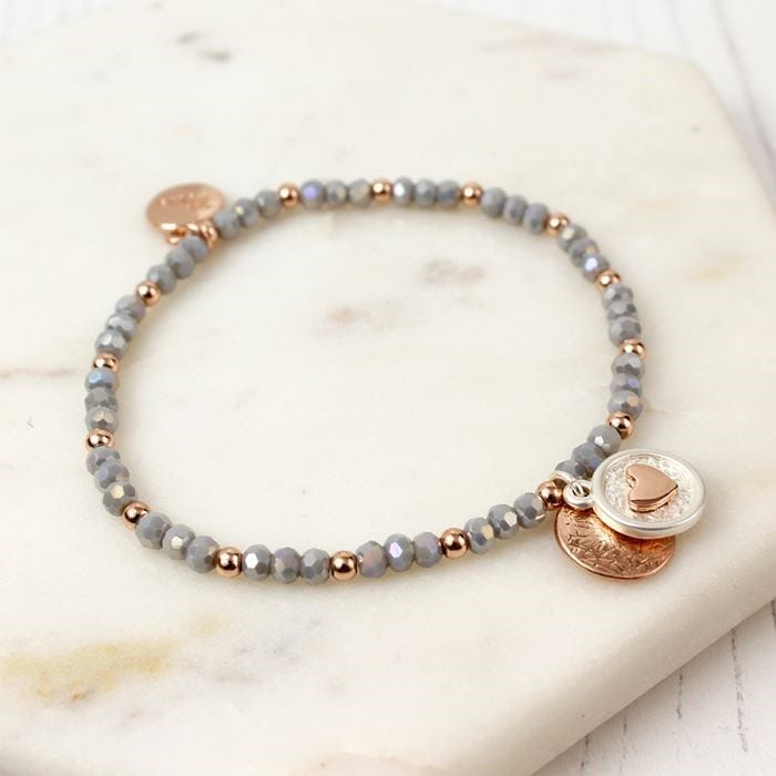 Bead and Disc Charm Bracelet