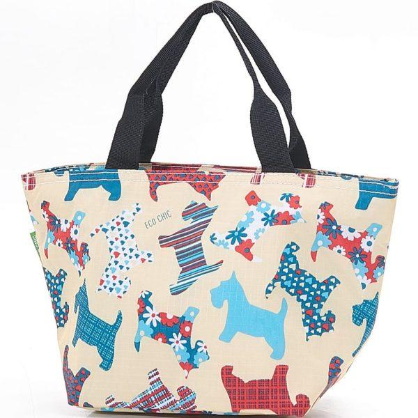 Beige Floral Scotty Dog Lunch Bag
