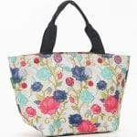 Beige Rose Print Lunch Bag