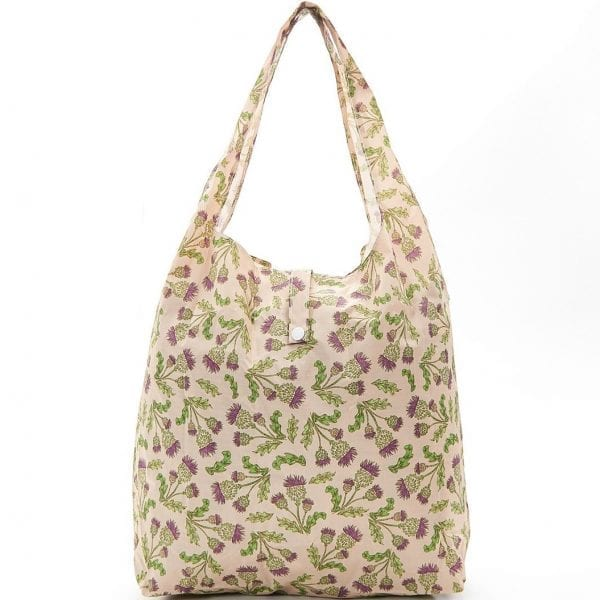 Beige Scottish Thistles Foldaway Shopper